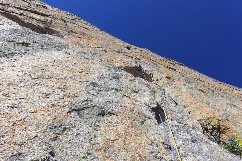 Dave Rone leading 2nd pitch of Yellow Wall. July, 2013.