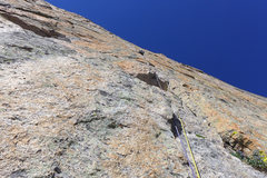 Rock Climbing Photo: Dave Rone leading 2nd pitch of Yellow Wall. July, ...