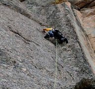 Rock Climbing Photo: EFR leading the first pitch, ground up and bolting...