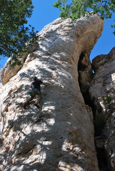 Rock Climbing Photo: Just past the tricky start, then upward through a ...