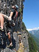 Rock Climbing Photo: Loren Foss on final pitch of Lovin' Arms.