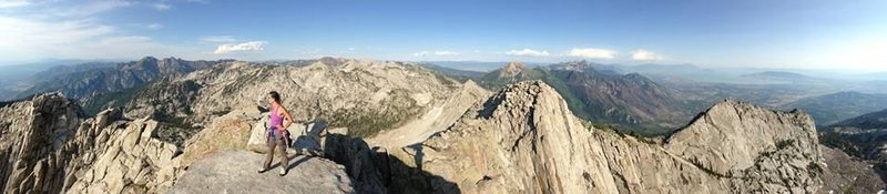Rock Climbing Photo: My girlfriend on the summit of Lone Peak after cli...
