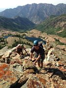 Rock Climbing Photo: Scrambling up the last few feet to the summit. Thi...