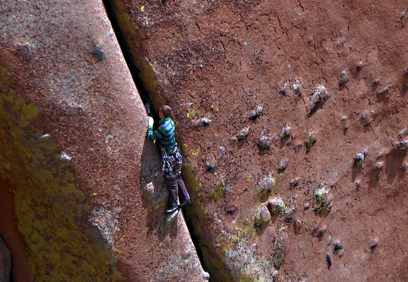 Just after the bolted belay.<br> <br> Unknown climber, August 2013.