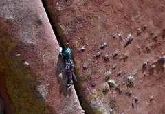 Rock Climbing Photo: Just after the bolted belay.  Unknown climber, Aug...