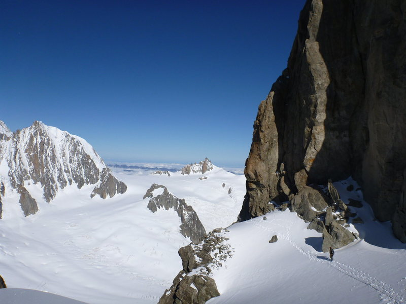 This pic shows the beginning of the rock section on the Dent d'Geant; another great Chamonix classic. The Aiguille d'Midi is in the background and the Valle Blanche stretches out between; a great skiing venue.