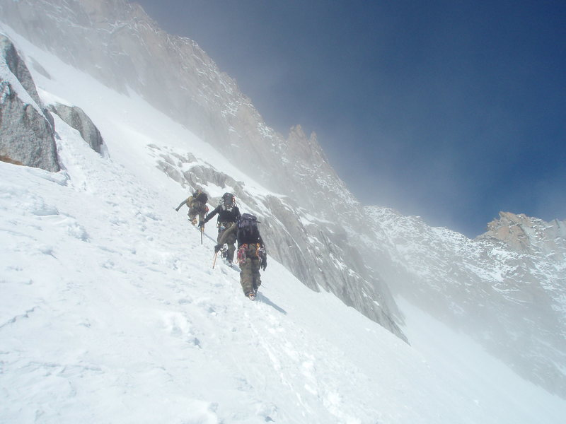 This pic is taken on the Tour Ronde; ascending to gain the SE Ridge Route- which is seen looming in the background.