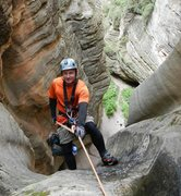 Rock Climbing Photo: Final 185' rappel in Sundance Canyon