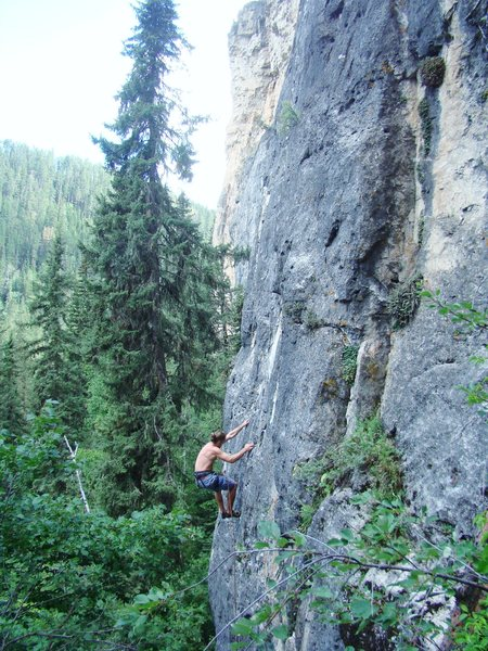 Probably one of the most classic 5.10a pocket pulling fests in the hills.<br> <br> Everything's Big In Texas.<br> Fat Grandma Wall, Big Picture Gully.<br> Spearfish Canyon, South Dakota.