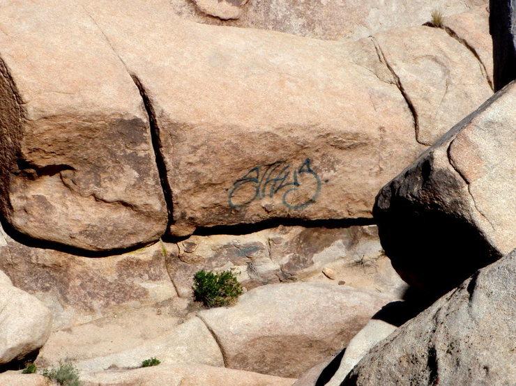 Rock Climbing Photo: Graffiti near Patagonia Pile in Joshua Tree Nat Pk