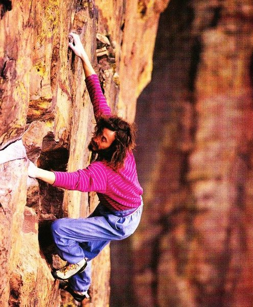 The late Derek Hersey soloing Rosy Crucifixion (5.10a), Eldorado Canyon.