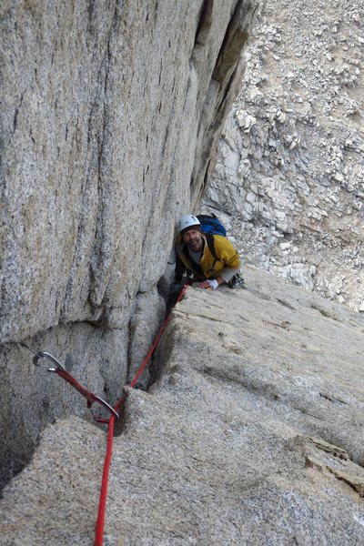Rock Climbing Photo: Following a pitch in the corner