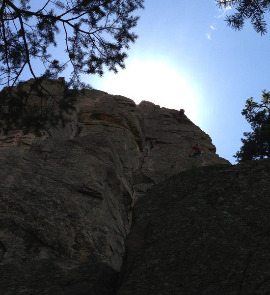 Two unknown climbers descending from the new rappel anchors on Cob Rock. The lower climber is at the lower anchors, the top climber is descending from the upper anchors.