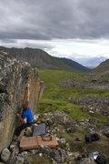 Rock Climbing Photo: Jared crimping through the short but stiff crux.