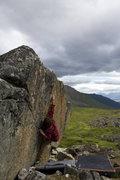 Rock Climbing Photo: Keenan moving into the crux.