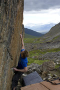 Rock Climbing Photo: Jared, making the crux move.
