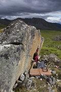 Rock Climbing Photo: Keenan sticking the crux.
