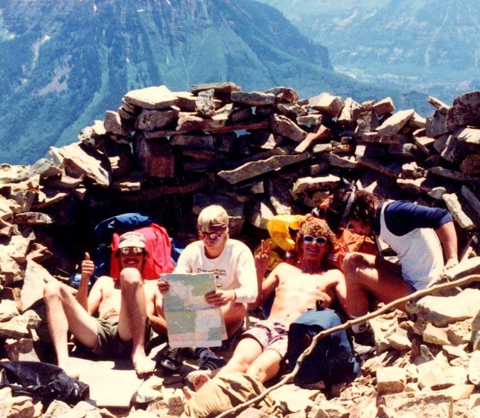Me, Bill, Wade and Johnny O on top of Mt. Sopris (Carbondale CO), 4th of July 1986(or so) Wade, Chico (photographer) and I spent the night up there .. just under 13K ft. Wow, awesome trip. We could see fireworks in 3 towns at the same time. We slid down the bowl with full packs, on our butts, the next morning.