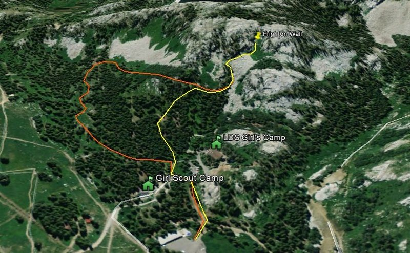 So you don't feel all creepy googling where the girls' camps are.<br> <br> The yellow path is the ideal approach, but is highly contingent on who is occupying that space.<br> <br> Be prepared to take the orange route to make everyone happy.  And be ready for bushwhacking.