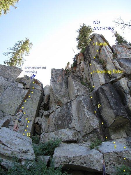 Rock Climbing Photo: D: Rusty Blade, 5.8+ E: Twinkie's Hatchet, 5.10a