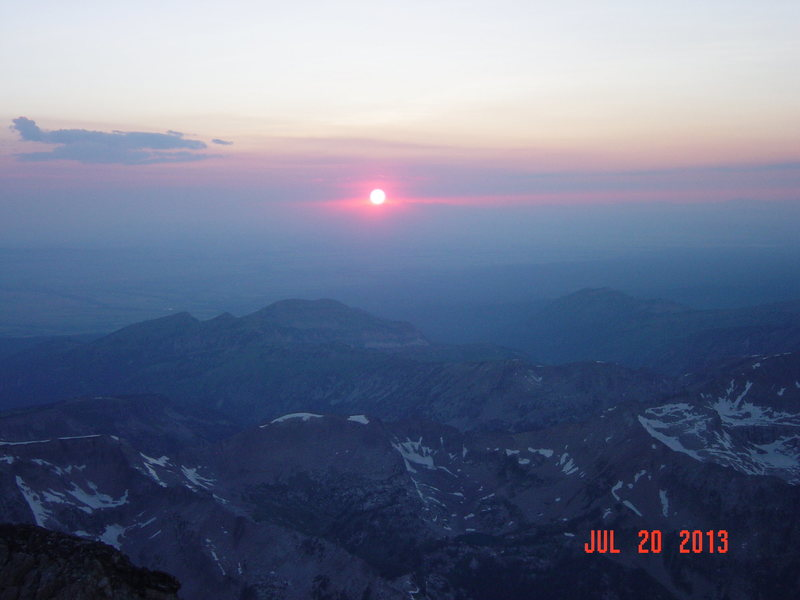 sunset from the summit of THE GRAND TETON