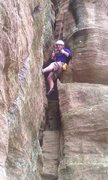 Rock Climbing Photo: Route, Cave City at Cedar Bluff.  Rated like a 5.6...