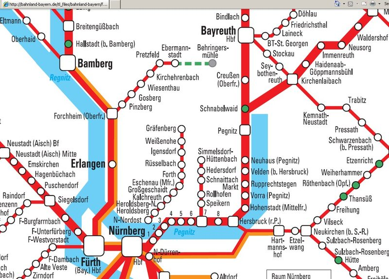 A layout of the train services throughout the Frankenjura. It's hard to see on just this map that there really isn't much here. Source: http://bahnland-bayern.de/tickets/regionale-tickets/franken-hopper-ticket