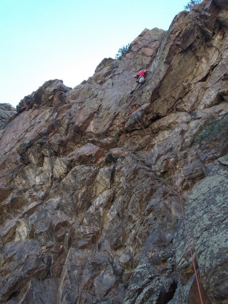 """Rock Climbing Photo: Moving toward the crux on """"The Chaser"""", ..."""