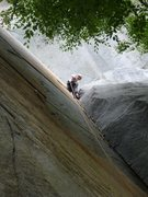 Rock Climbing Photo: Jonathan Dull Warming up in the Etriers on the fir...