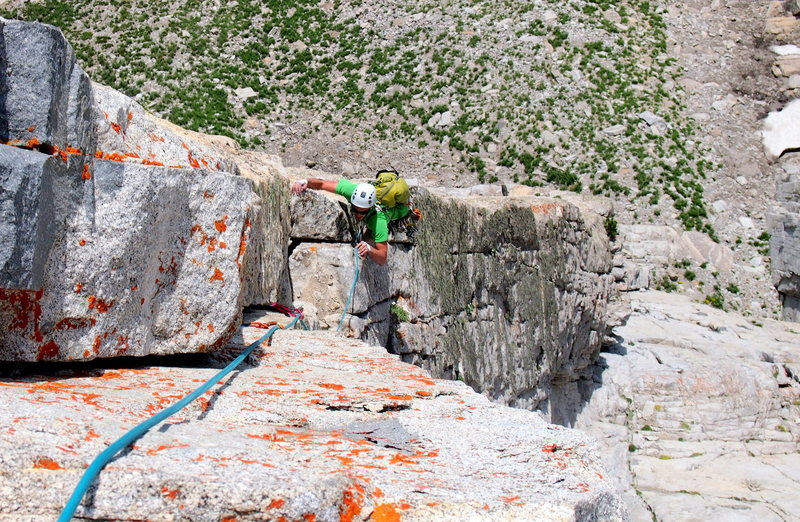 Rock Climbing Photo: The awesome crux pitch. Mooner climbing.