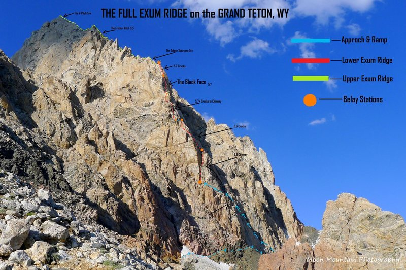 View of the Exum Ridge from the Lower Saddle on the Grand Teton.