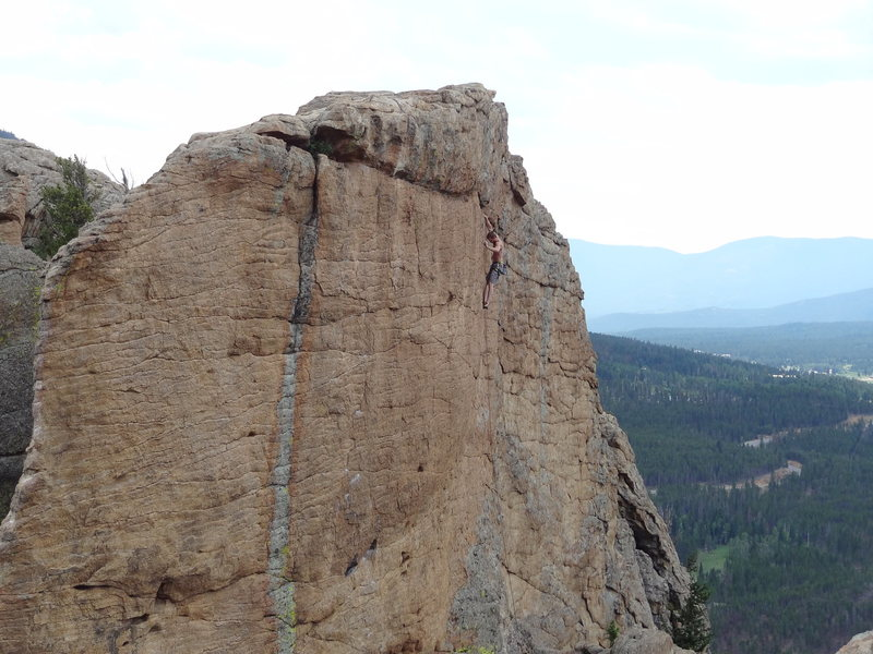 Just past the crux at the top, fun climbing and great position!