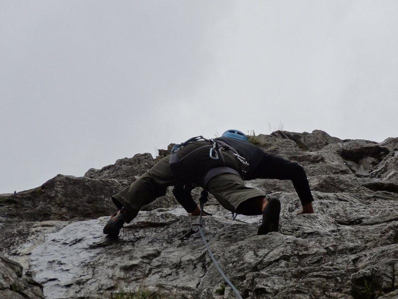 Sport climbing on rain day