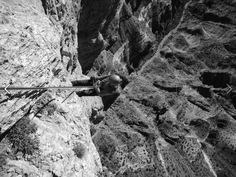 Rock Climbing Photo: rapping off notch peak summit.