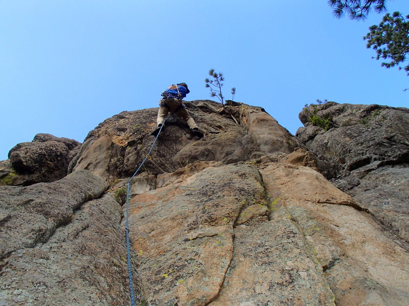 Rock Climbing Photo: Dave Rone on the crux of Schister.
