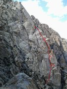 Poomerang climbs steep rock on the backside of Elderberry Buttress.
