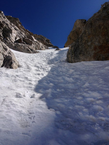 Looking up at the top section of the Southwest Couloir, June 15th 2013