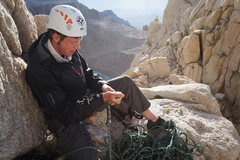 Rock Climbing Photo: Starting the belay for the first pitch of Mt. Whit...