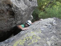 Rock Climbing Photo: Alex Orkwis pulling the top of the first chimney.
