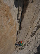Rock Climbing Photo: 4th pitch just over the roof and around the 2nd cr...