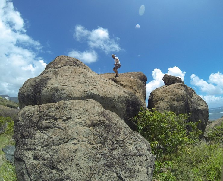 Rock Climbing Photo: Boulder on the left is the west boulder, several r...