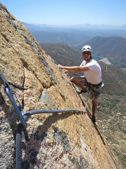 Rock Climbing Photo: The cool last section of P4 at the top of the knif...