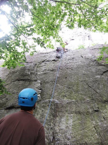 Start of The Balless Boltchoppers.  I threw in a small cam about 5 feet below the first bolt to protect the opening moderate climbing moves above the first ledge.