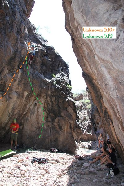 Unknown 5.10+ and 5.12 on left side of canyon at widest point.  August 2013.
