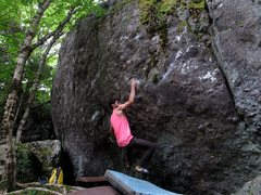 """Rock Climbing Photo: Parlier on the FA of """"Strength Generator&quot..."""