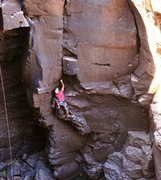 Rock Climbing Photo: AMH above the runout start and looking for decent ...