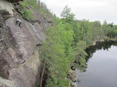 Rock Climbing Photo: Laura Carpenter on the stellar slab headwall of Po...