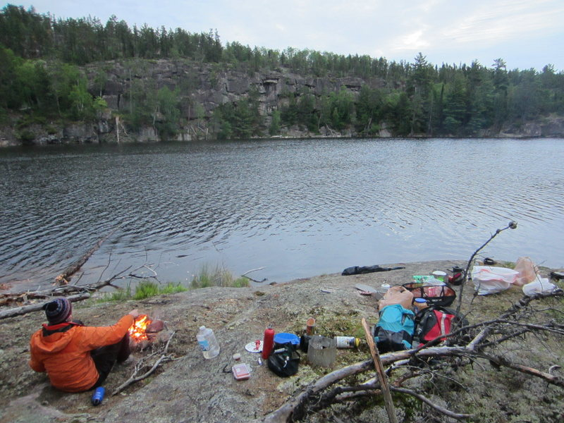 Camping at Secret Lake. Secret Lake Wall (now with about 20 routes!) in the background.