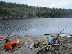Rock Climbing Photo: Camping at Secret Lake. Secret Lake Wall (now with...