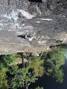 Rock Climbing Photo: Just keeps on keepin on. Jeff on the FA of OMS.